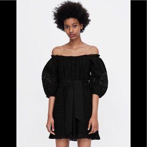 New Zara black eyelet dress size xs